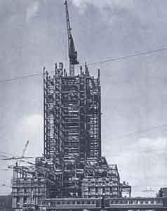 """Строительство каркаса гостиницы """"Ленинградская"""" в Москве. 1951"""