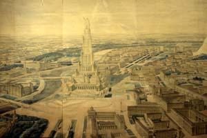 Дворец Советов, проект Б.Иофана. Панорама Москвы. (1934)