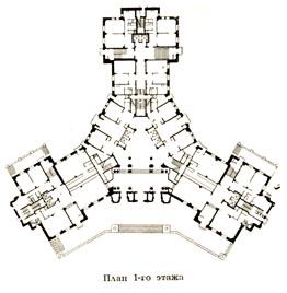 Жилой дом на Котельниках. План 1-го этажа